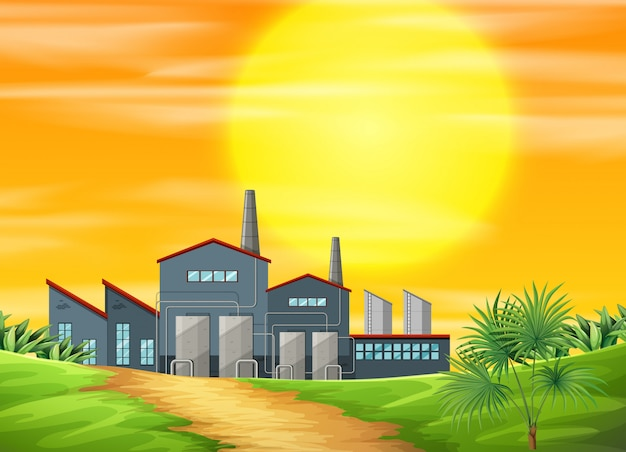 A factory ay rural scene