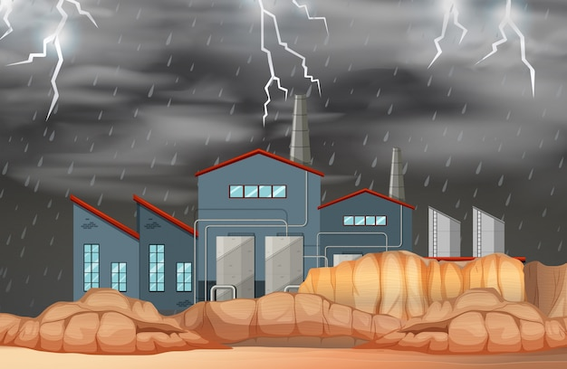 Factory in bad weather scene