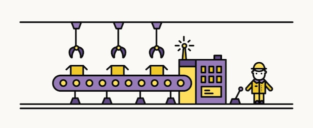 Factory belt conveyor equipped with hanging robotic manipulators conveying boxes and industrial worker in hard hat standing at controlling panel. colored vector illustration in line art style.