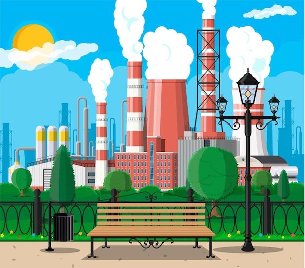 Здание завода и иллюстрация городского парка