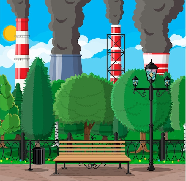 발전소가있는 공장 건물 및 도시 공원