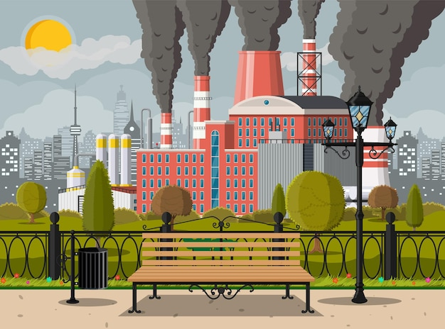 Factory building and city park. industrial factory, power plant.