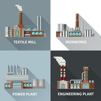 Factory building design realistic icons set