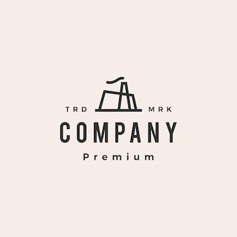 Factory building hipster vintage logo template