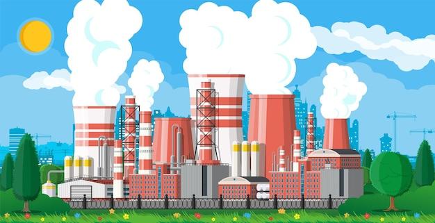 Здание завода промышленное предприятие иллюстрация