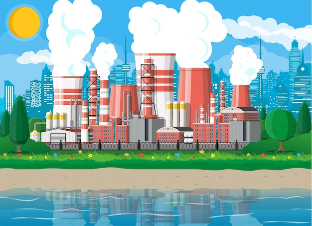 Заводское здание. промышленный завод, электростанция. трубы, постройки, склад, резервуар для хранения. городской пейзаж городской горизонт, водохранилище, облака, деревья и солнце. векторная иллюстрация в плоском стиле