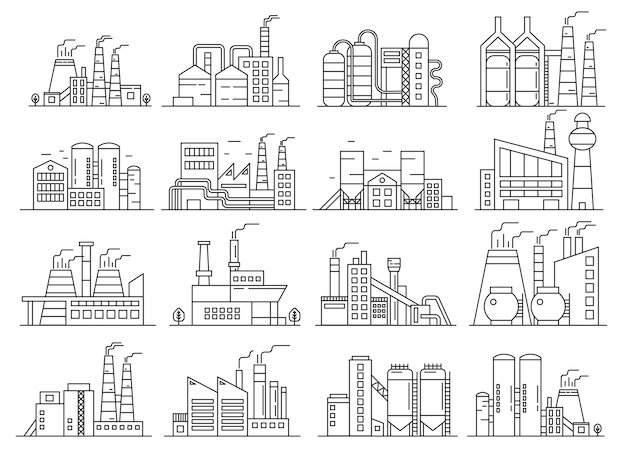 工場建築ラインスタイルセット。 indistrial建設と商業建築のアウトラインストロークセット。