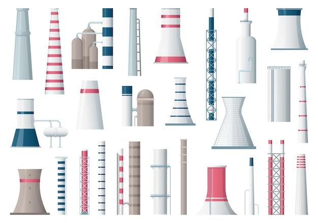 工場の建物。製造パイプ汚染産業工場大建設漫画イラスト
