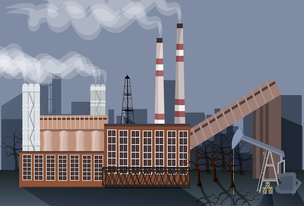 Factory building nature pollution plant pipe waste