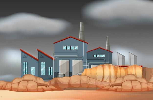 A factory building scene