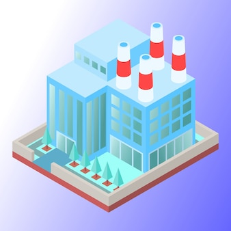 Factory building with soft colored
