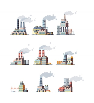 Factory buildings. industrial urban power constructions with pipelines  factory  pictures