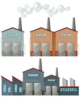 굴뚝 일러스트와 함께 공장 건물