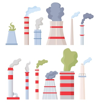 Factory chimney with smoke. manufacturing pipes with toxic chemical fumes, environment and air pollution. stack with dirty steam vector set. illustration power factory, architecture tower smoke