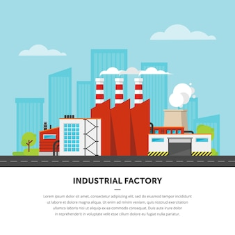 Factory on cityscape.