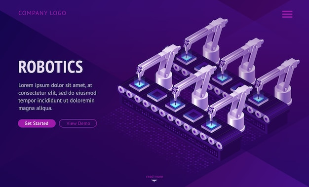 Factory conveyor belt landing page. robotics arms.