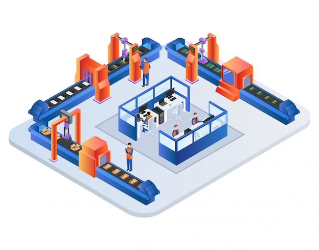 Factory conveyor belt. robotic arms packing goods