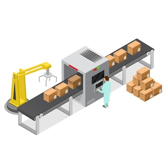 Factory conveyor belt with cardboard boxes in isometric view
