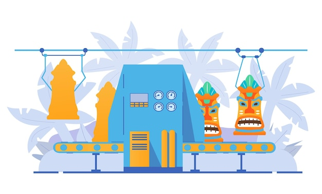 티키 마스크 제조용 공장 컨베이어