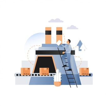 Factory conveyor with cardboard boxes  illustration