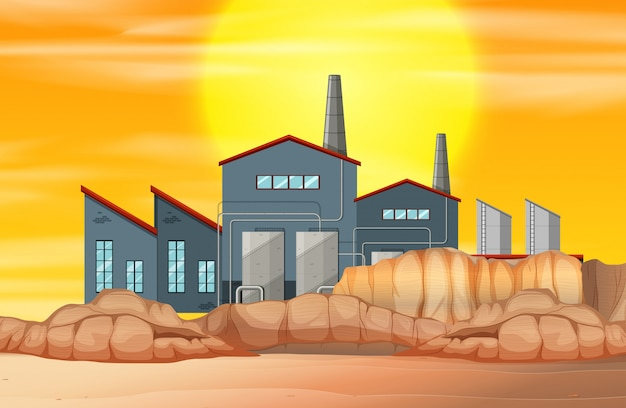 Factory in dry land