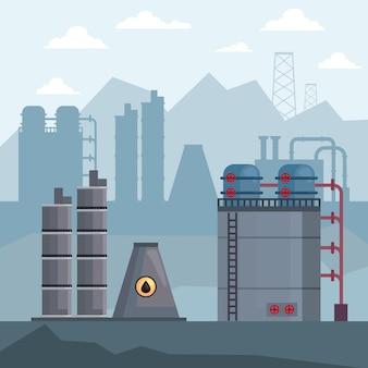 工場の水圧破砕シーン