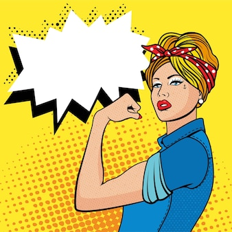 The factory girl with biceps, pop art comics retro style halftone. imitation of old illustrations. woman we can do it.