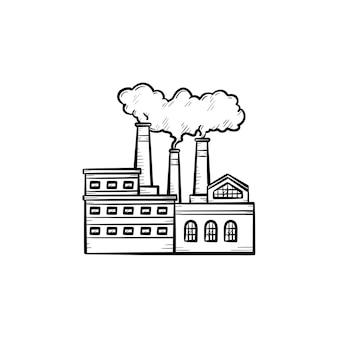공장 손으로 그린 개요 낙서 아이콘입니다. 흰색 배경에 격리된 인쇄, 웹, 모바일 및 인포그래픽을 위한 공장 굴뚝 벡터 스케치 그림에서 나오는 연기로 인한 대기 오염.