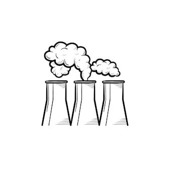 공장 손으로 그린 개요 낙서 아이콘입니다. 흰색 배경에 고립 된 인쇄, 웹, 모바일 및 infographics에 대 한 산업 공장 벡터 스케치 그림의 물 냉각탑.