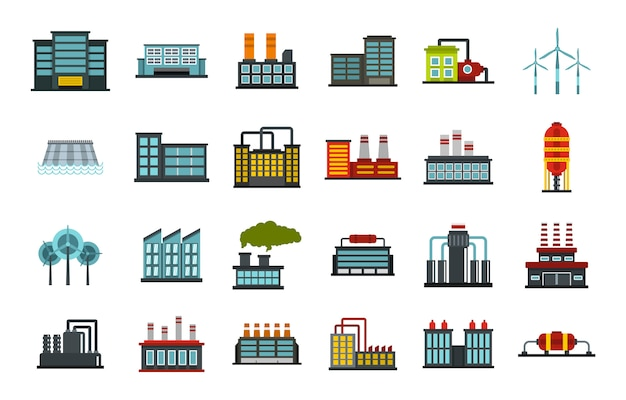 Factory icon set. flat set of factory vector icons collection isolated