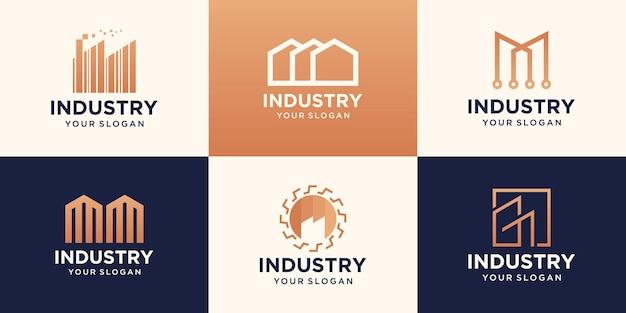 산업 디자인을위한 공장 아이콘 및 기호