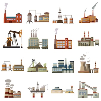 Factory icons set, cartoon style
