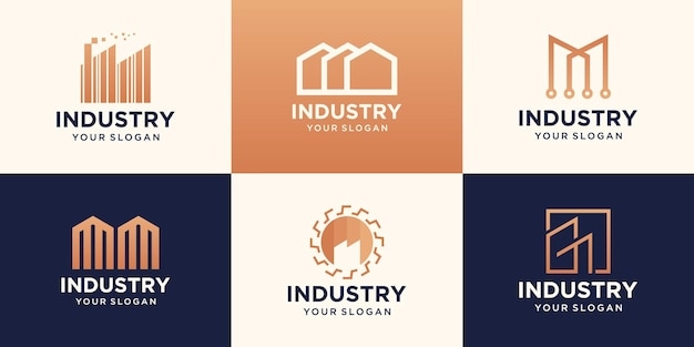Factory icons and symbols for industry design