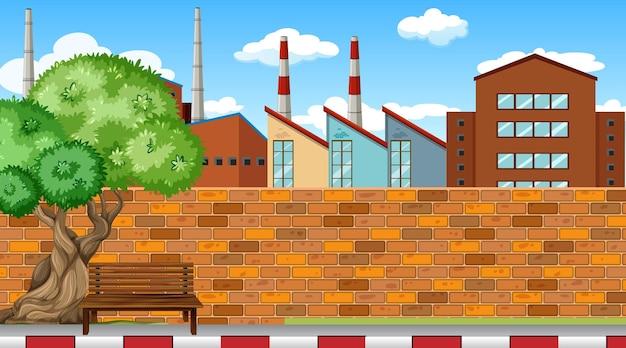 都会の風景を背景にした工場