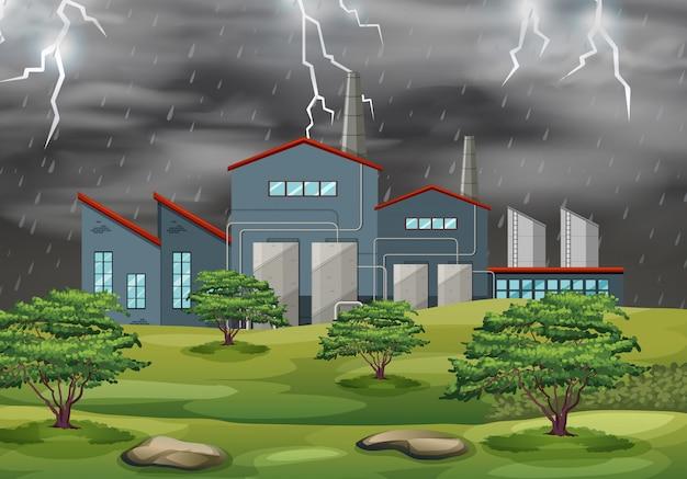 Фабрика в шторм погоды