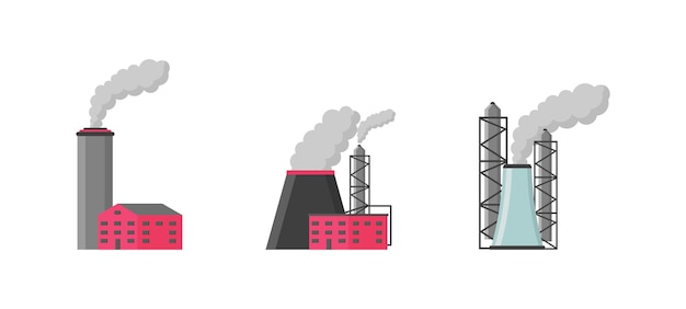 Factory or industrial building flat style icon set.
