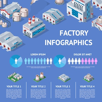 Factory  industrial building and industry manufacture with engineering power illustration isometric infographics map of manufacturing construction producing energy or electricity on background
