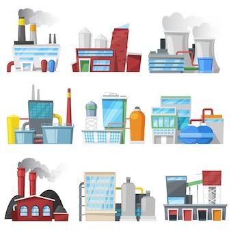 工場産業用建物または製造および製造建設産業またはエンジニアリングパワーの白い背景で隔離のエネルギーまたは電気のイラストセットを生産