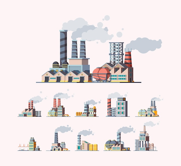 Factory. industrial buildings manufactures air pollution flat pictures. illustration building manufacturing tower, production construction with pipeline