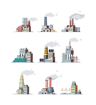 Factory. industrial buildings smoke modern plants   illustrations