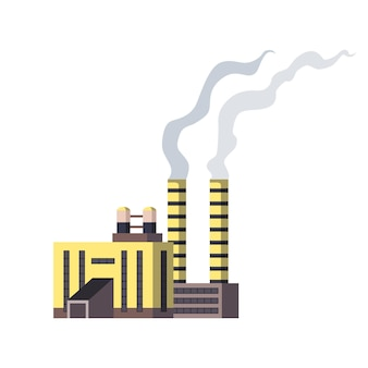 Завод промышленный. мануфактура, промышленное здание, нефтеперерабатывающий завод или атомная электростанция. комплекс зданий химического завода, изолированные на белом фоне Premium векторы
