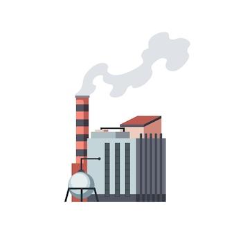 Завод промышленный. мануфактура, промышленное здание, нефтеперерабатывающий завод или атомная электростанция. комплекс зданий химического завода, изолированные на белом фоне.