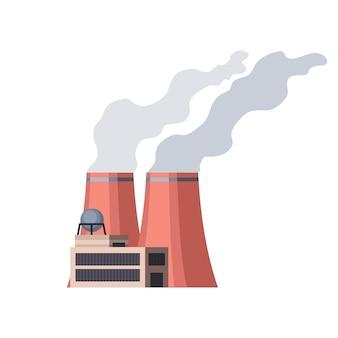 Завод промышленный. мануфактура, промышленное здание, нефтеперерабатывающий завод или атомная электростанция. комплекс зданий химического завода, изолированные на белом фоне