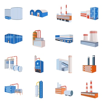 Factory and industry icon. collection factory and industrial stock symbol .