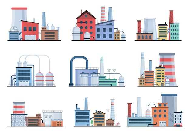 Factory industry manufactory power electricity buildings flat icons set nuclear power stations