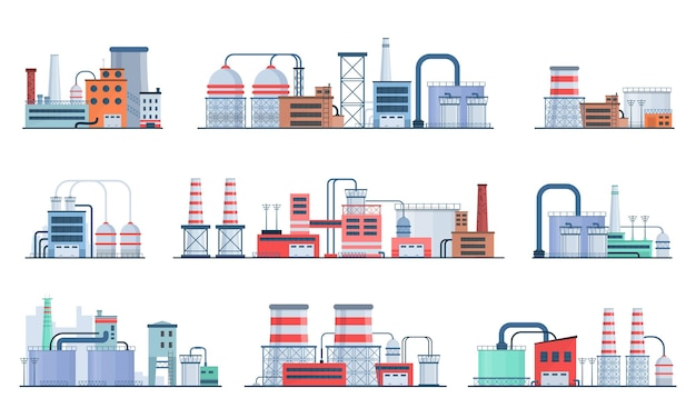 工場産業の製造業の電力の建物のフラットアイコンは原子力発電所を設定します
