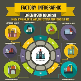 Factory infographic elements in flat style for any design