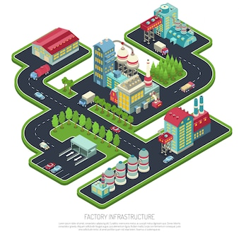 Factory infrastructure isometric composition