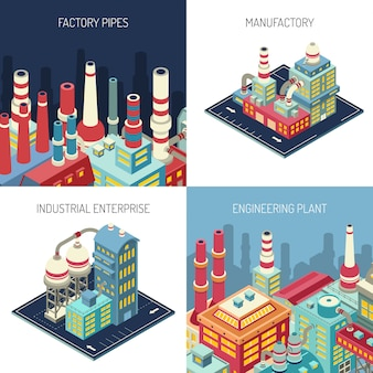 Factory isometric design concept