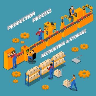 Illustrazione isometrica di fabbrica con i lavoratori sul posto di lavoro sul nastro trasportatore e nello stoccaggio della produzione